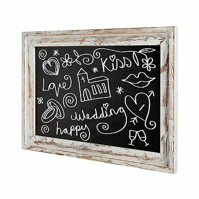 Shabby Chic Wall Mounted White Washed Wood Framed Chalkboard White