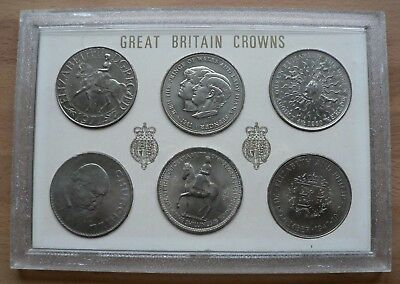 6 x DIFFERENT UK CROWNS in presentation case
