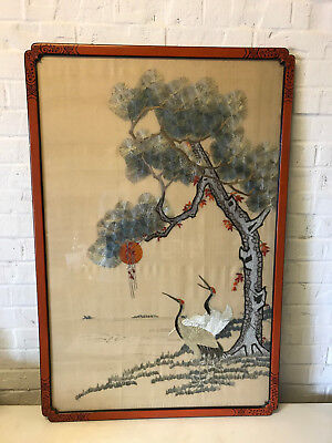 Antique Chinese Early 20th Century Silk Embroidery Textile 2 Cranes & Tree Dec.