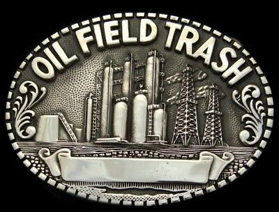 QH02160 *NOS* 1980s **OIL FIELD TRASH** POLISHED SOLID BRASS OILFIELD BUCKLE