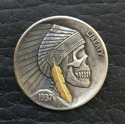 hobo nickel 1937 buffalo nickel 24k gold inlay hand engraved by GediminasPalsis
