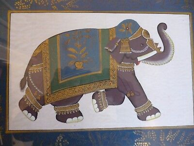 Gorgeous Framed Vintage Hand painted Indian Painting on silk of an Elephant