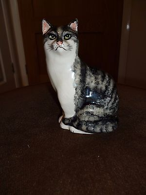 Lovely pottery hand painted tabby cat