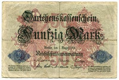 Original German Fifty Funfzig Mark WW1 Banknote 5th August 1914 World War One