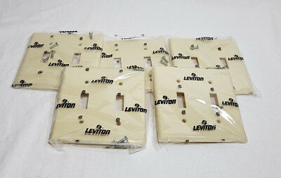 Lot of 5 Leviton 2 Gang Toggle Switch Plate Cover Ivory 86009 Plastic NEW