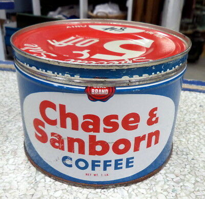 Vintage 1950's Chase & Sanborn Coffee Key Wind Advertising Tin Can tea