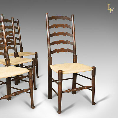 Antique Set of 4 'Wavy Line' Ladder Back Dining Chairs, Edwardian c.1910