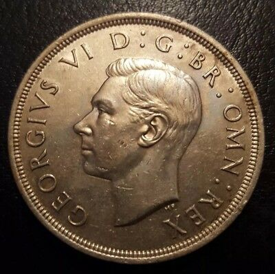 1937 George Vi Silver Crown Coin.  Royal Coat Of Arms Reverse.