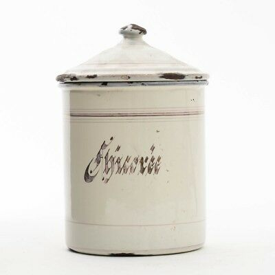 """Vintage French White Enamel Chicory / Chicoree Canister Pot with Lid JAPY 7"""" T"""