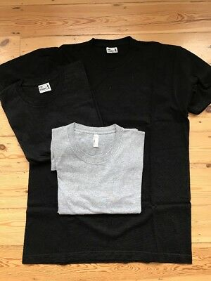 Men's American Apparel T-Shirt Bundle of 3 Size Large (2 x Black 1 x Grey)