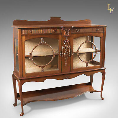 Antique Glazed Display Cabinet, English, Walnut, Edwardian, c.1910