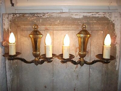 French a pair of gold patina bronze wall light sconces antique/vintage awesome