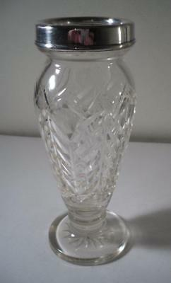 An Antique Silver Rimmed Cut Glass / Crystal Vase : London 1924