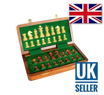 Chess Board Wooden Handcrafted Travelling Folding Magnetic Chess 10 X 10 Inch