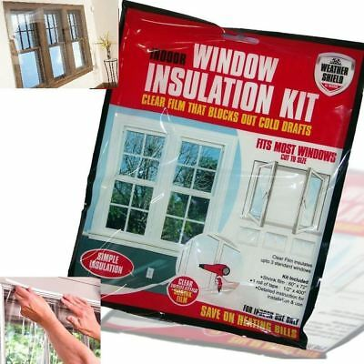 2 x Home Window Insulation Kit Heating Glass Draught Excluder Double Glazing