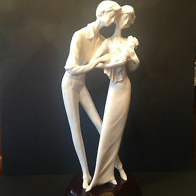 """Huge Alabaster A. Santini Sculpture Statue Figure COUPLE w BABY Signed 17""""Tall"""