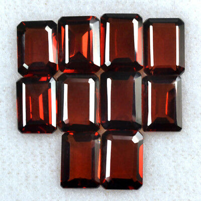 Natural Pyrope Wine Red Garnet Emerald Cut Lot Mozambique 10.50 Cts 7x5mm 10 Pcs