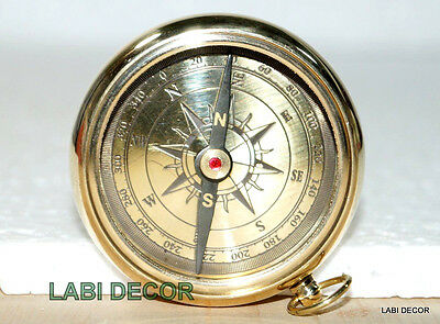 Vintage Brass Compass Open Face Navy Royal London Engrave Pendent Compass Jewel