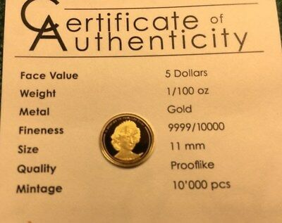In Memory Of PRINCESS DIANA - 1/100 OZ 11mm 24k Gold Coin SEE PHOTO'S