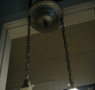 Vtg Double Light Industrial Pendant Hanging Fixture Station Shop Swag (NO Shades