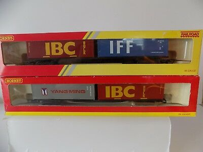 2x Hornby container wagons – R6425 and R6140 - 2x30ft containers