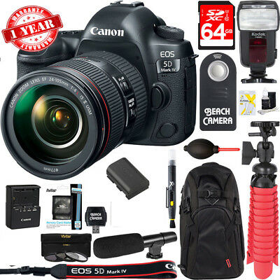 Canon EOS 5D Mark IV DSLR Camera + EF 24-105mm IS II USM Lens 64GB Accessory Kit