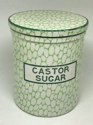 Rare Antique Maling Green Cobblestone Lidded Jar - Castor Sugar - Kitchenalia