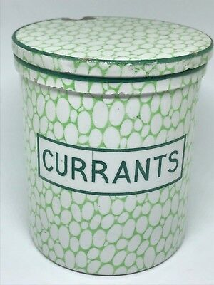 Rare Antique Maling Green Cobblestone Lidded Jar - Currants - Kitchenalia