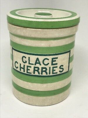 Rare Antique Maling Evergreen Lidded Jar - Glace Cherries - Kitchenalia