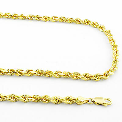 """10k Real Yellow Gold 3mm Diamond Cut Rope Chain Necklace Lobster Clasp 16""""- 32"""""""