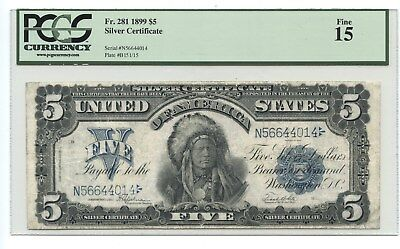 1899 $5 Silver Certificate, Very Popular Note with portrait of Chief Onepapa