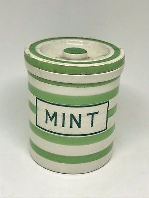 Rare Antique Maling Evergreen Lidded Jar - Mint - Kitchenalia