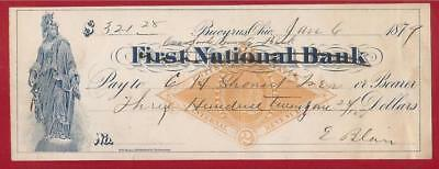 First National Bank Cheque Bucyrus Ohio Usa 1879.