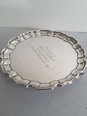 Good Shaped Edge Antique Solid Silver Card Tray On 3 Legs.  Sheffield 1914.