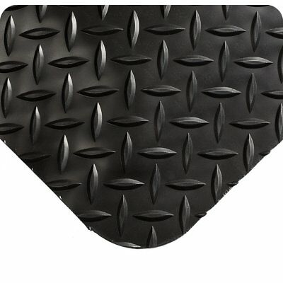 "Wearwell  Diamond-Plate SpongeCote UltraSoft Mat 4' L x 2' W 15/16"" Thick, Black"