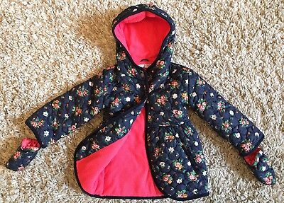 M&S Indigo Girls Navy Floral Quilted Winter Coat Jacket - Age 2-3 Years