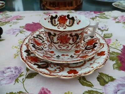 Vintage / Antique English China Trio Tea Cup Saucer Plate Rust Red Black 3815