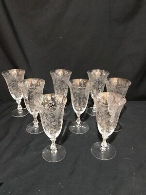 Set of 8 RARE ANTIQUE ETCHED WATER GLASSES