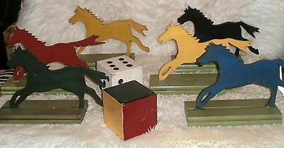 VINTAGE  wooden FORAIN  GAME  GARDEN  GAME Horses and Dice Racing Game