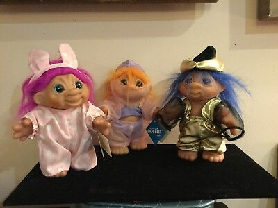Three Vintage DAM NORFIN Troll Dolls Sizes 5 1/2 inches & Two are 6 inches 1984