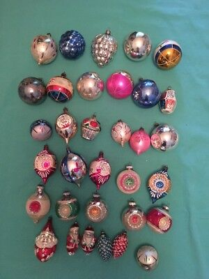 Vintage Glass Christmas Ornaments - Lot Of 33