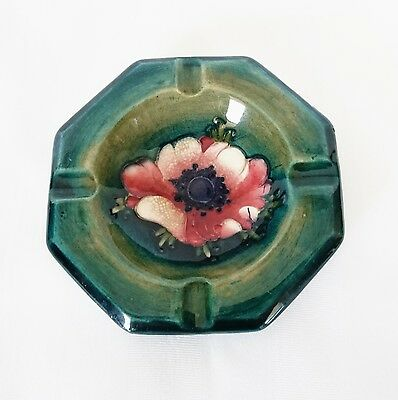 Vintage Moorcroft Green Anemone Floral Bowl Dish Ashtray 4.25 in