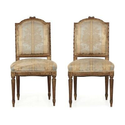 Pair of French Louis XVI Style Carved Antique Side Chairs, 19th century