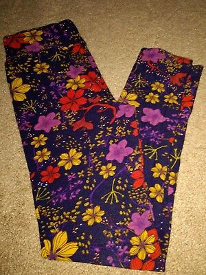 EUC Lularoe Tween Leggings Purple Yellow Orange Floral Made in Vietnam