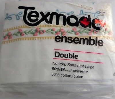 Vintage Texmade Canada Pink Floral Shabby 4 Piece Sheet Set Double Size New