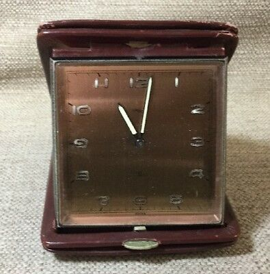 Vintage Imhof Wind Up Travel Alarm Clock In Leather Case Made In Switzerland