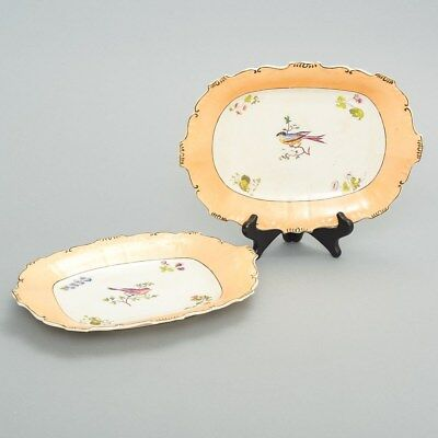 Set of 2 Antique Porcelain Cabinet Plates Rectangular Peach Rim Birds & Flowers