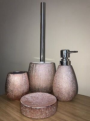 Textured Rose Gold/Copper/Silver 4 Piece Bathroom Set Including Toilet Brush