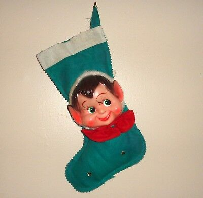 Vintage 50's Pixie Elf-Christmas Stocking-Great Elf Face-Collectible-Exc-Nr