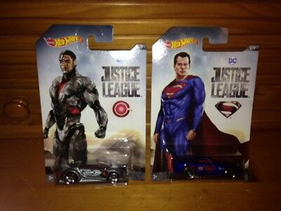 NEW Lot of 2 2017 2018 Hot Wheels DC Justice League Cyborg & Superman